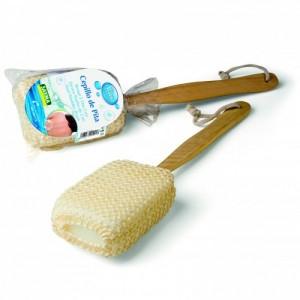 Cepillo esponja de pita con mango de madera para espalda ducha rascar exfoliante