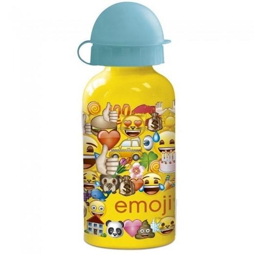 Botella de aluminio de emojis emoticonos amarilla metalica para gua 400 ml