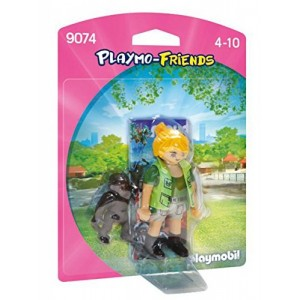 Muñeca Playmobil cuidadora con Bebe gorila zoologico chica