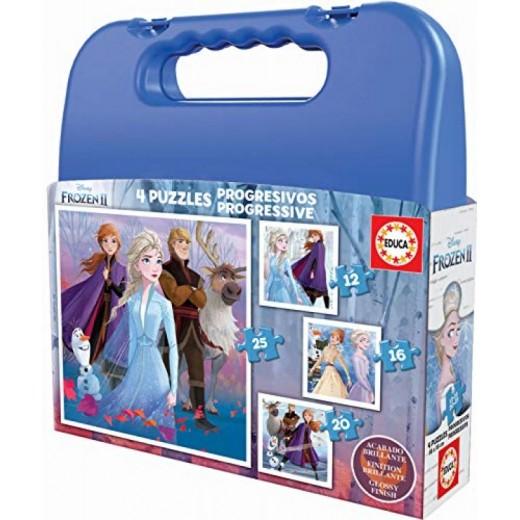 Maletin puzzle progresivo de Frozen II 4 puzzles infantiles de elsa Anna y olaf