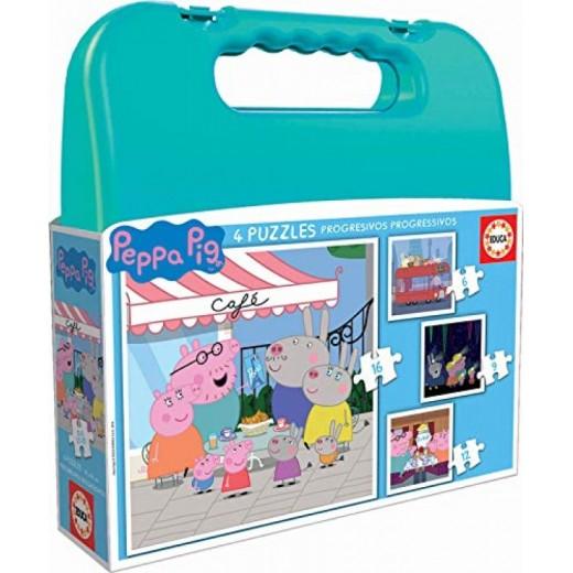 Maletin de puzzles progresivos de Peppa pig 4 puzzles infantiles