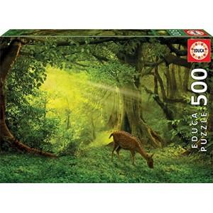 Puzzle ciervo en el bosque verde de 500 piezas naturaleza