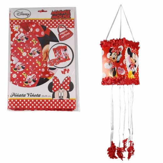 Piñata con antifaz de Minnie Mouse roja con lunares blanco para cumpleaños 20X30