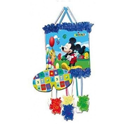 Piñata con antifaz de Mickey Mouse roja con lunares blanco para cumpleaños 20X30