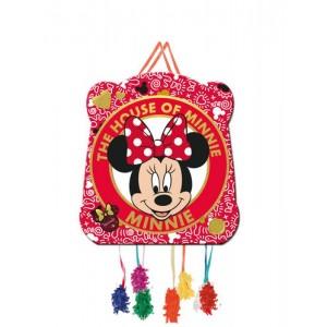 Piñata de Minnie Mouse roja 33x28 para fiestas y cumpleaños con cuerdas