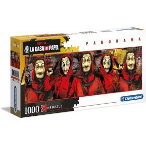 Puzzle panorama personajes de la casa de papel panorámico ladrones rojo dali