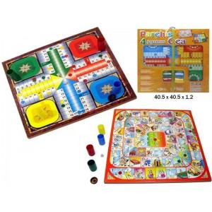 Pack tablero Parchis y juego de la oca con cubiletes y fichas