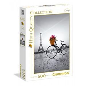 Puzzle paseo romantico en Paris de 500 piezas torre eiffel y bicicleta