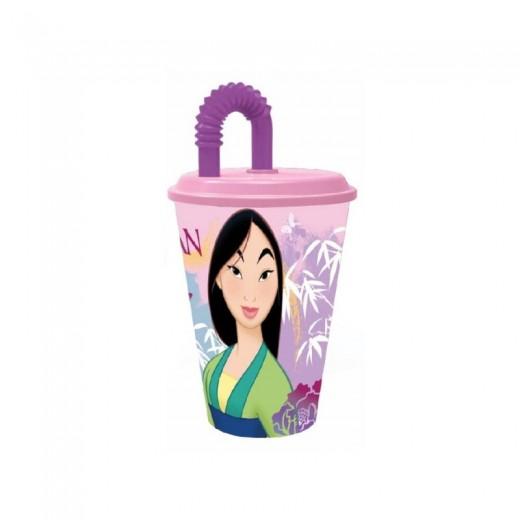 Vaso con caña y tapadera de Mulan Rosa 430 ml con pajita