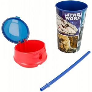 VASO de SNACK de Star Wars con pajita y compartimento para comida