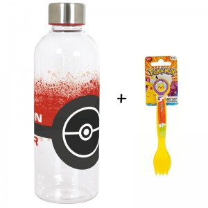 BOTELLA de agua 850ML. Pokemon Pokeball Hidro y cubiertos de regalo pikachu