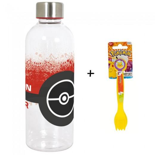 BOTELLA de agua 850ML. Pokemon Pokeball Hidro y cubiertos de regalo pikachu