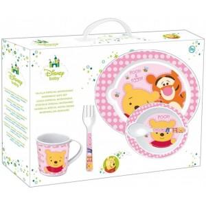 Vajilla de Winnie the Pooh 5 piezas rosa para bebe especial microondas sin BPA