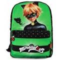 MOCHILA de Ladybug reversible Cat Noir para colegio Verde y Roja 40 cm
