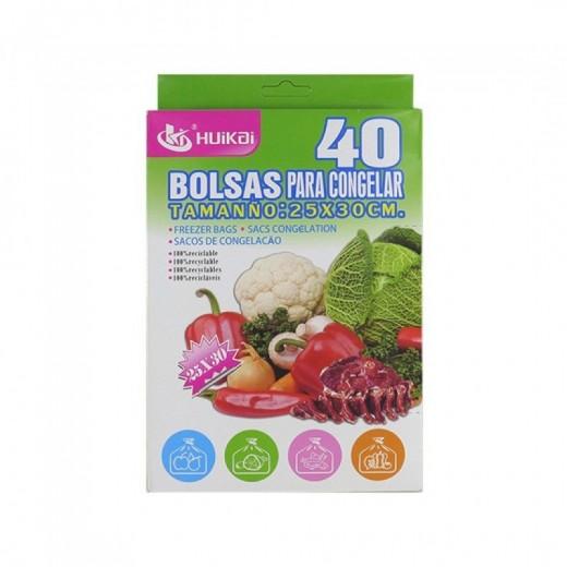 40 bolsas para congelar 25x30 cm para uso alimentario 100% reciclable