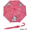 Paraguas con mango manual de Hello Kitty rosa oscuro infantil para niña