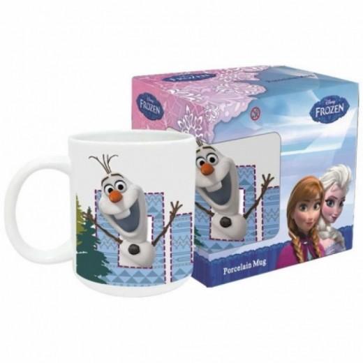 Taza ceramica de Olaf muñeco de nieve de Frozen Azul con letras y asa