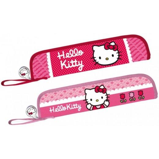 Portaflauta hello kitty funda para flauta rosa colegio con cremallera y colgador