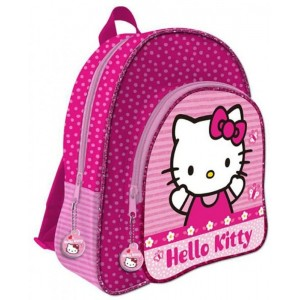 Mochila grande de Hello Kitty Rosa 41 cm adaptable a carro 2 cremalleras