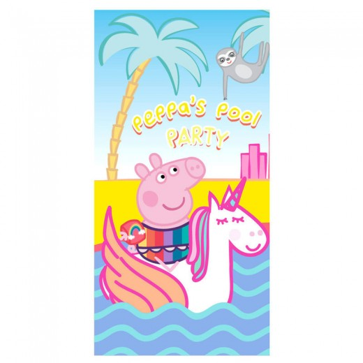Toalla de Peppa pig con Unicornio fiesta en piscina secado rapido