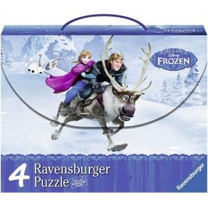 Maleta con 4 puzzles infantiles de Frozen Elsa Anna Olaf