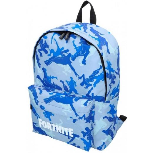 Mochila camuflaje azul de Fortnite escolar para colegio baile 43 cm