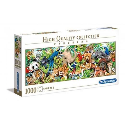 Puzzle de 1000 piezas animales en la selva salvajes colores panorama
