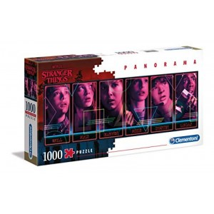 PUzzle de 1000 piezas de Strange things panorama con personajes