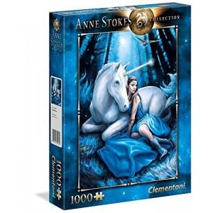 Puzzle de 1000 piezas chica con unicornio en luna azul