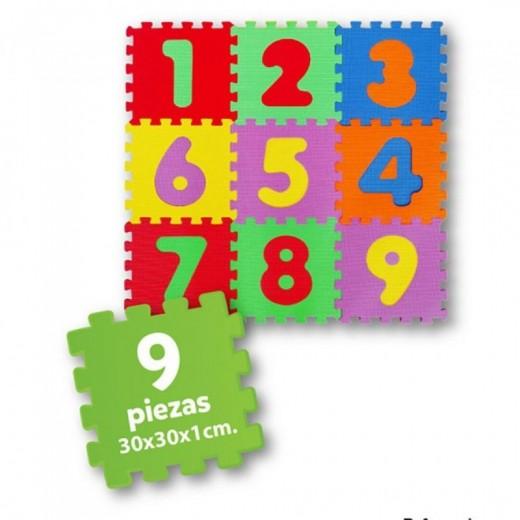 Alfombra puzzle EVA de Números de colores 90x90 cm 9 piezas puzzle para suelo