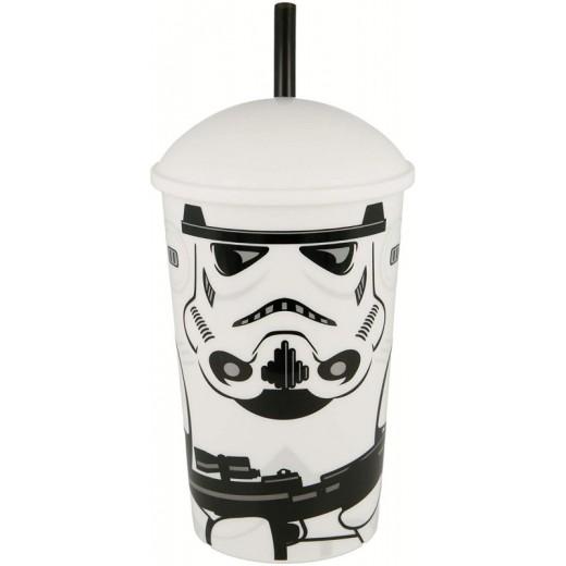 Vaso con caña de Star Wars Stormtrooper 400 ml grande Blanco con tapa