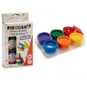 Pintura para pintar con los dedos 6 botes de colores no mancha la ropa no Toxico