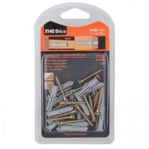 caja Tornillos con tacos de nylon para pared y madera 20 unidades M6 4x30mm