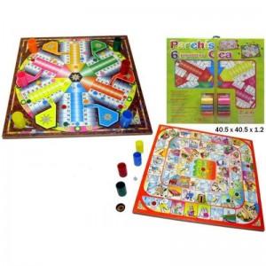 Pack tablero Parchis y juego de la oca con cubiletes y fichas para 6 jugadores