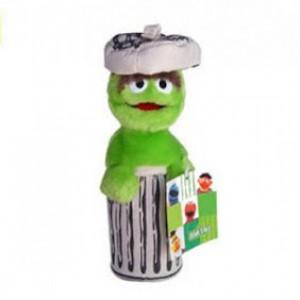Peluche de Oscar Barrio sésamo monstruo verde en cubo de basura muñeco