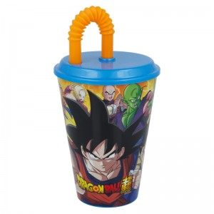 Vaso con caña y tapadera de Dragon ball 430 ml Son Goku Vegeta