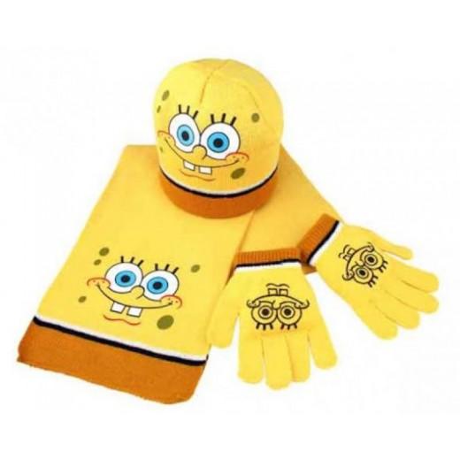 Set de bob esponja de invierno gorro bufanda y guantes infantiles