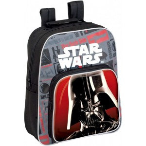 Mochila star wars negra y gris de Darth Vader con doble bolsillo 34 cm