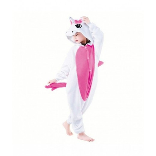 Disfraz de Unicornio Fucsia con capucha infantil mono pijama Rosa de unicornio