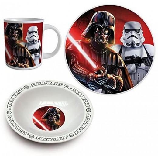 Set de desayuno plato cuenco y vaso de Star Wars de cerámica darth Vader