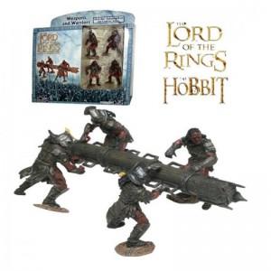 Figuras de 4 Uruk-hai con ariete el señor de los anillos Orcos Uruk hais