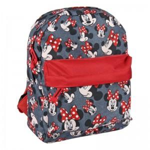 Mochila infantil de Minnie Mouse Roja con doble bolsillo para colegio 32 cm