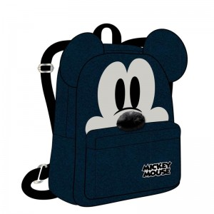 Mochila casual de Mickey Mouse bolso Azul oscuro y negro con orejas 28 cm