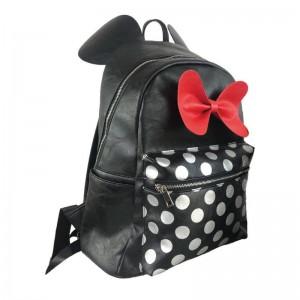 Mochila bolso tipo cuero Negro Minnie Mouse casual con doble cremallera y lazo