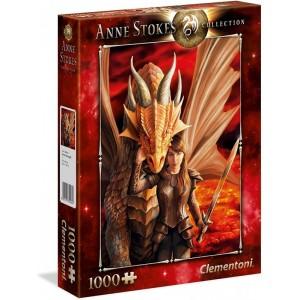 Puzzle 1000 piezas Dragón rojo con guerrera Inner Strength de Anne Stokes