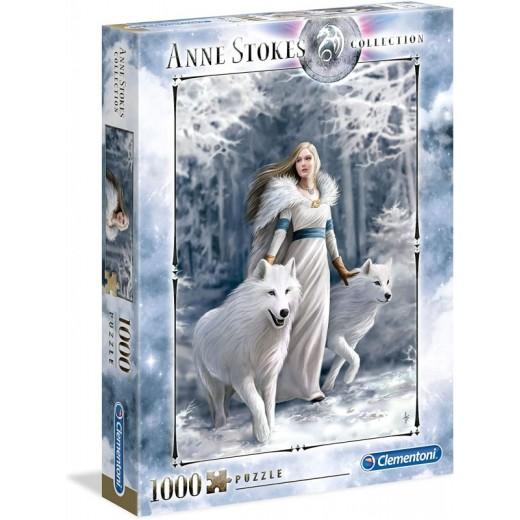 Puzzle de 1000 piezas mujer con 2 lobos blancos Anne Stokes