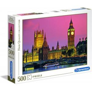 Puzzle de 500 piezas de Londres Bigbeng paisaje de noche iluminado
