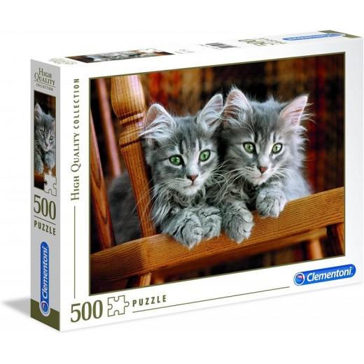 Puzzle gatitos de 500 piezas 2 gatos grises en silla de madera pequeño