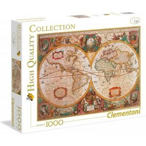 PUzzle de mapa del mundo antiguo de 1000 piezas en color mapamundi 69x50cm