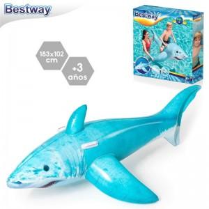Flotador tiburón hinchable con asas Azul Grande 102cm